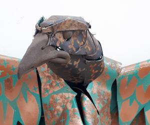 Hawk head James Ort metal sculpture