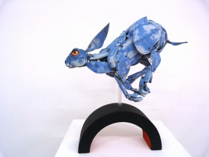 Running rabbit sculpture