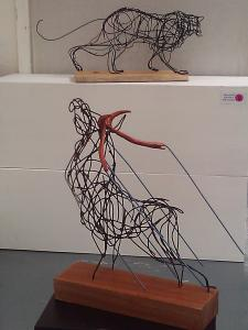 Stag and panther sculpture wire