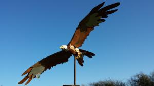 Red kite metal sculpture