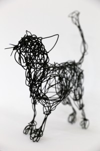 Black cat wire sculpture