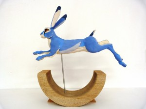 Hare running sculpture