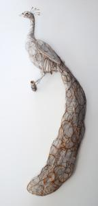 Peacock wire sculpture James Ort